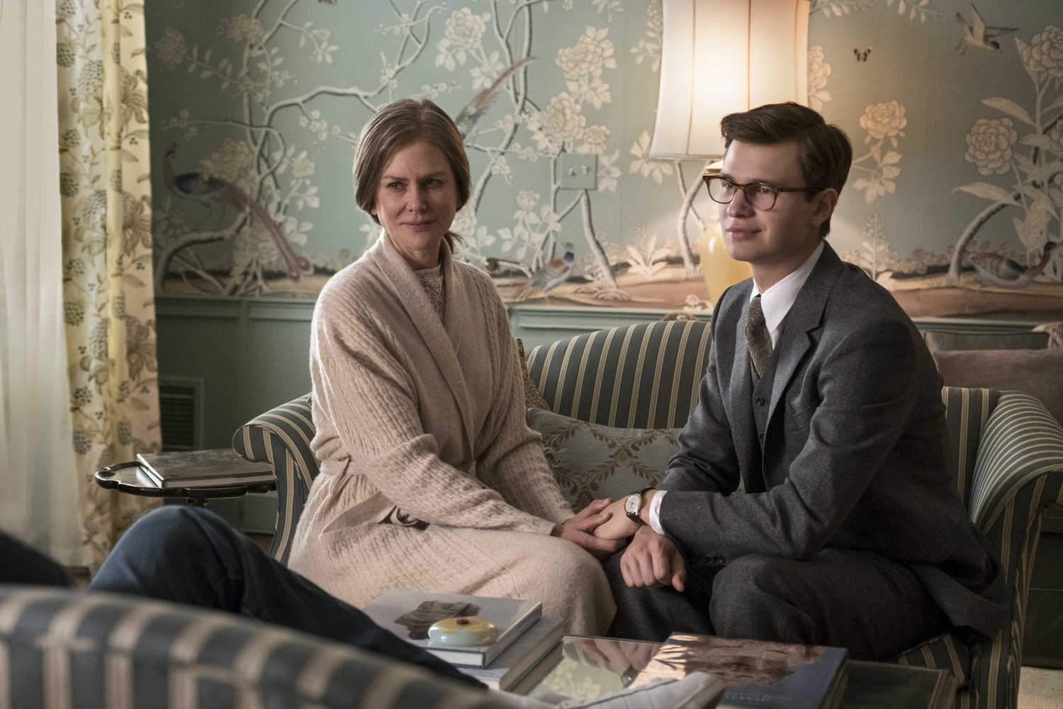 "Nicole Kidman (right) stars as Mrs. Barbour and Ansel Elgort (left) stars as Theo Decker in ""The Goldfinch"" (2019), directed by John Crowley."