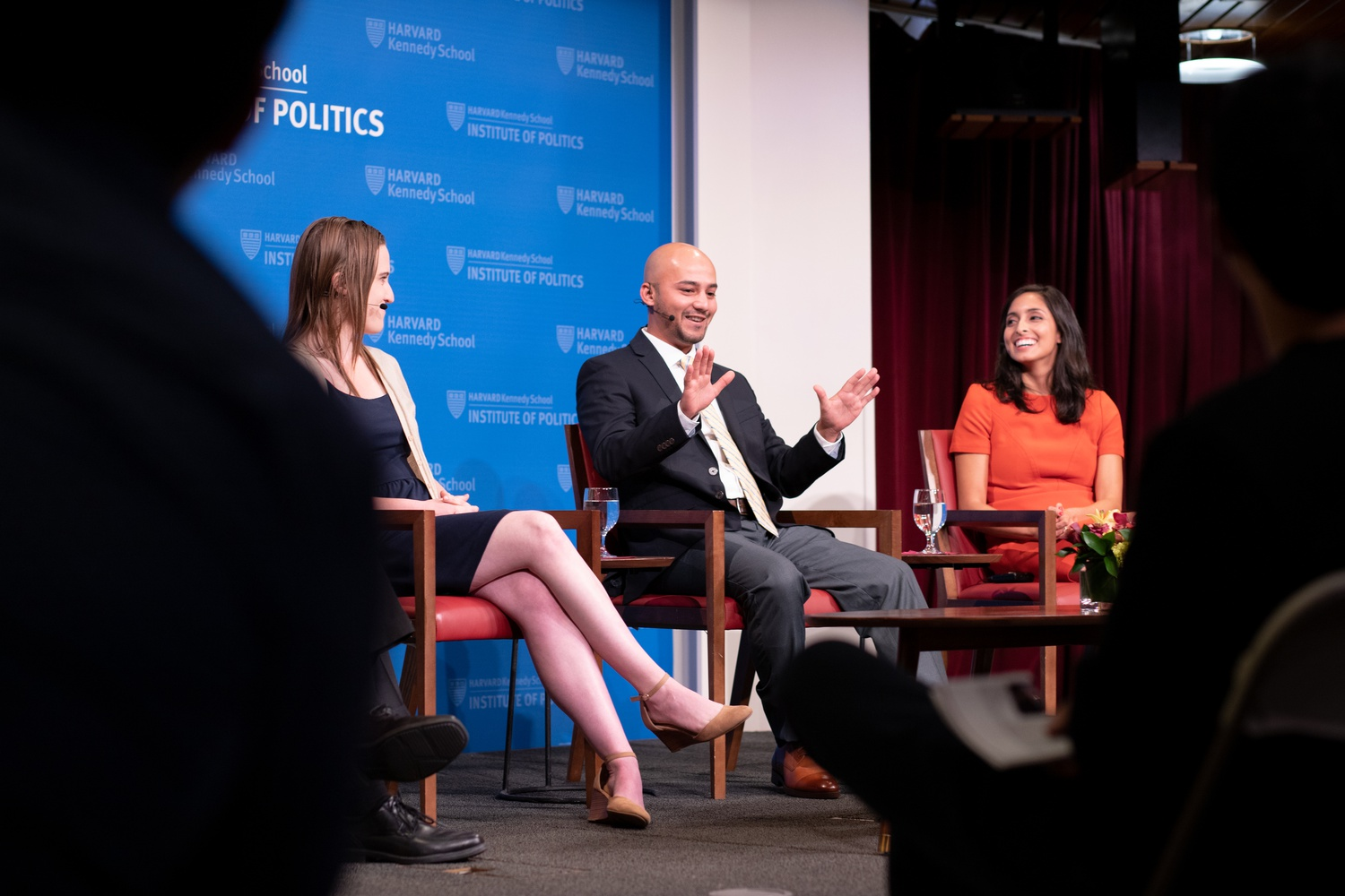 Chelsea Janes from the Washington Post (left), Musadiq Bidar from CBS News (middle) and Marianna Sotomayor from NBC News (right) chat with Washington Post correspondent Dan Balz (far left) about their first-hand experiences as reporters for the top candidates in the coming elections of 2020.