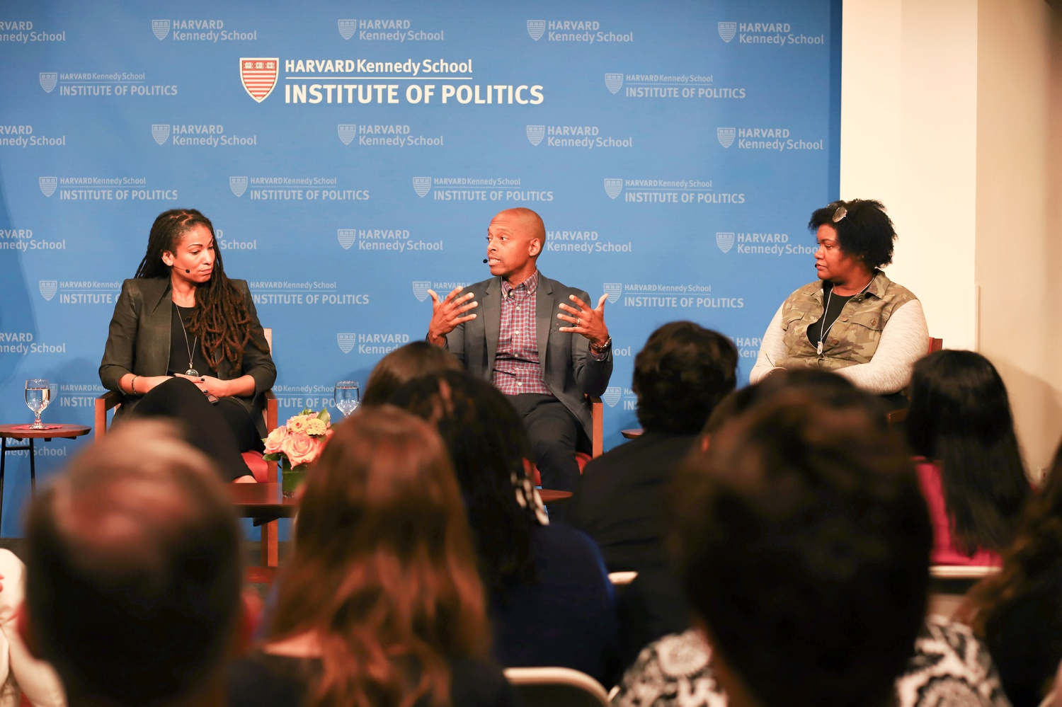 Ruha Benjamin, Khalil G. Muhammad,  Latoya Peterson, and Joan Donovan discuss race, technology, media, and policy at the IOP on Wednesday evening.