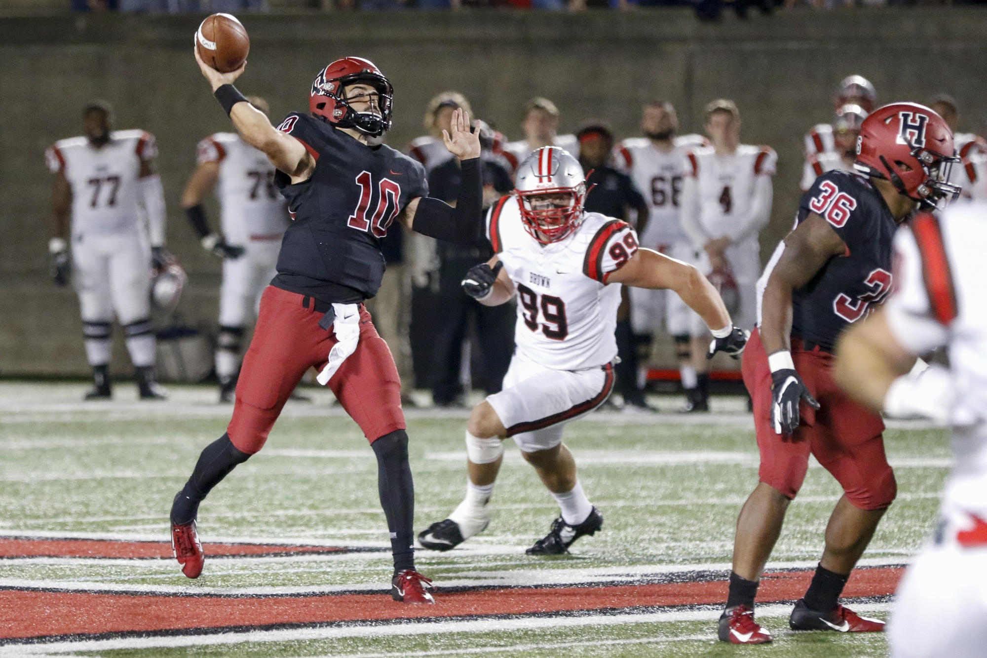 Junior quarterback Jake Smith tossed four touchdowns in Friday's victory over Brown. The mark represents a career best for the third-year.