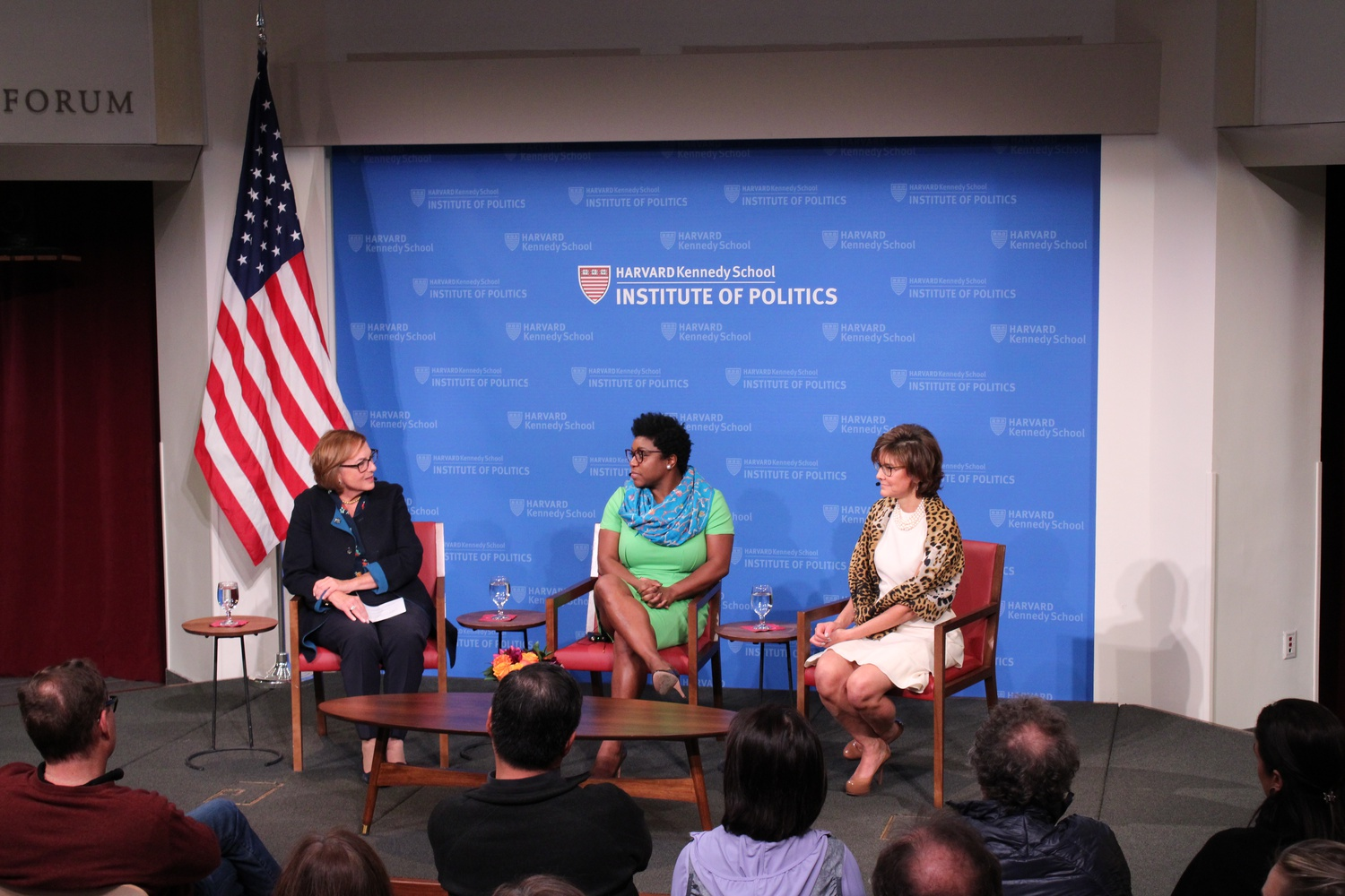 Former White House Social Social Secretary Deesha Dyer and former Chief of Protocol of the United States Capricia P. Marshall speak at the JFK Jr. Forum with moderator Jackie O'Neill, a former Harvard University Marshal.