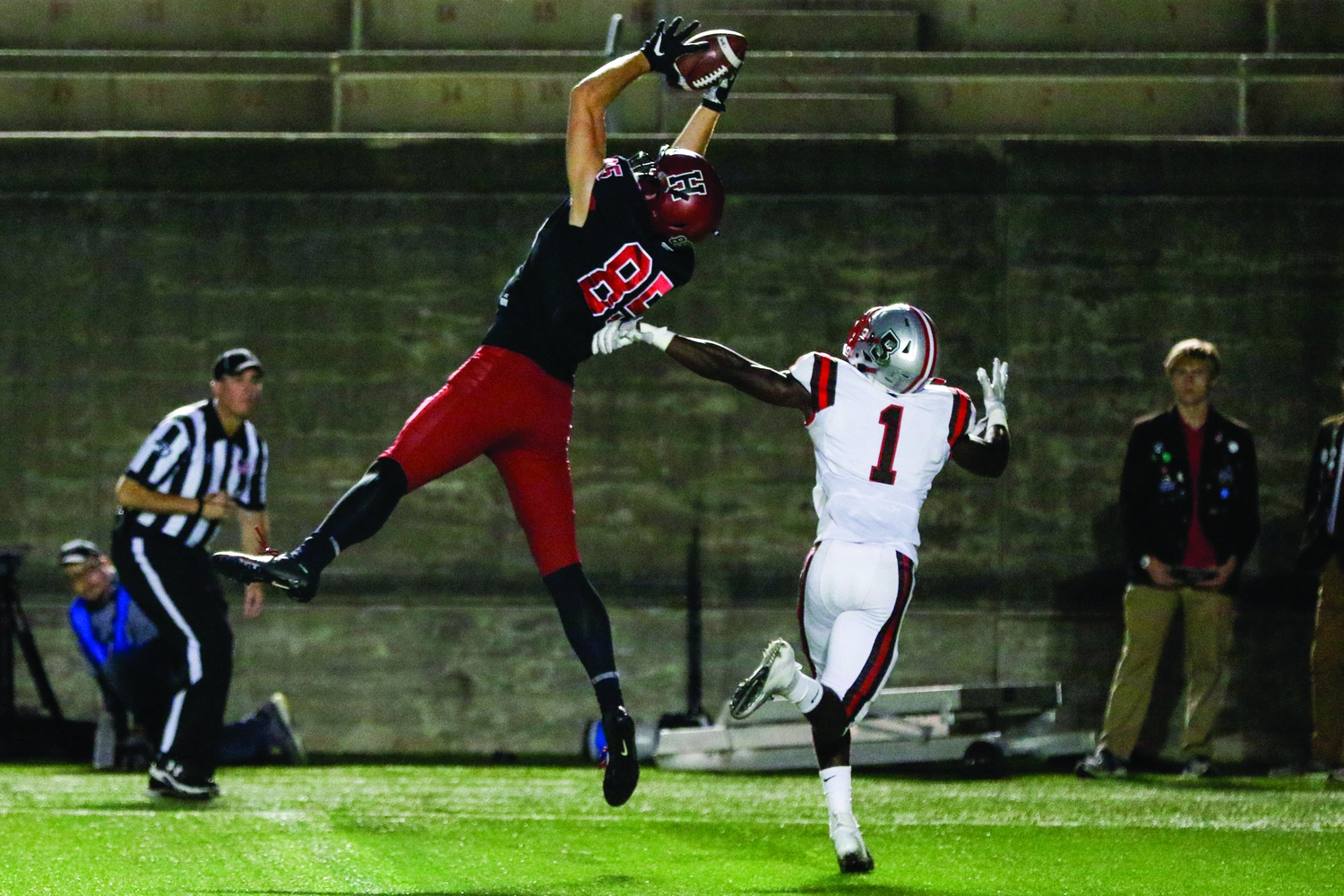 Junior tight end Adam West goes up for a leaping grab in the end zone during last weekend's home game against Brown.