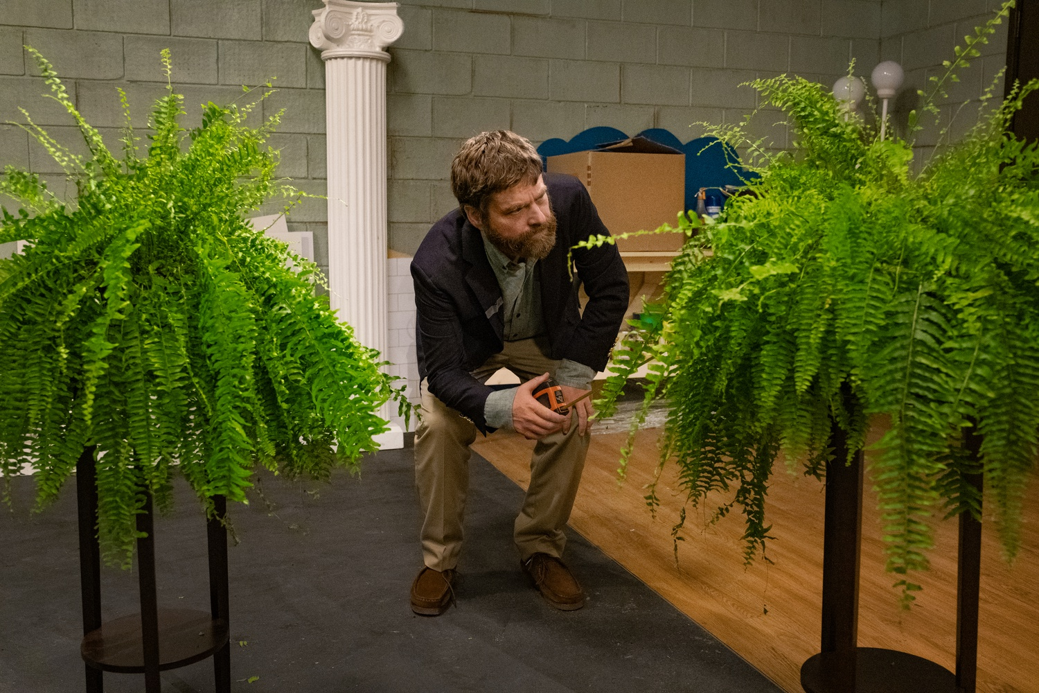 "Zach Galifianakis as himself in ""Between Two Ferns: The Movie"" (2019), directed by Scott Aukerman."
