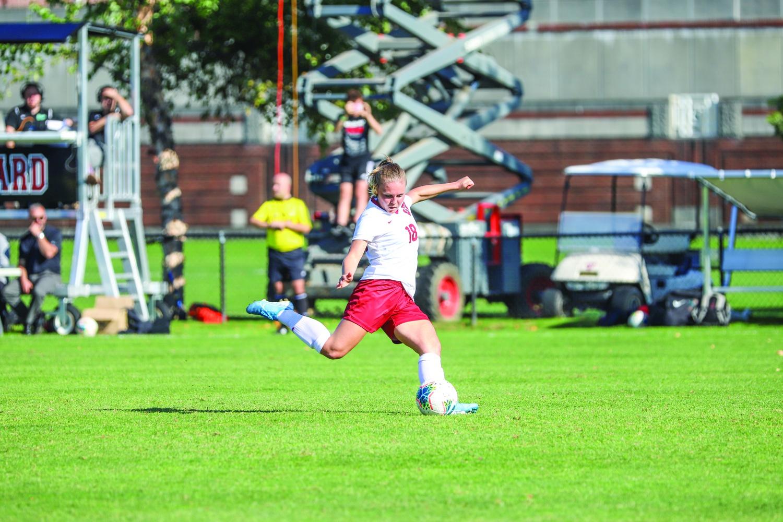 Sophomore midfielder Lara Schenk lines up for a strike on goal.