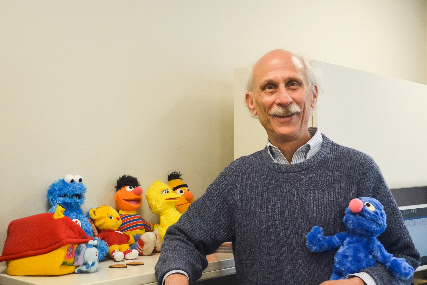 Harvard Graduate School of Education lecturer Joseph Blatt keeps a collection of muppets on the bookshelves in his office.