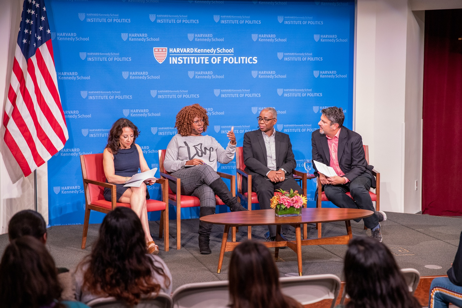 At the Institute of Politics on Tuesday evening, Maria Hinojosa, Julio Ricardo Varela,LaTosha Brown and Renée Graham discussed the current engagement of communities of color within the 2020 election and the important role that these communities have in shaping the next four years of the country.