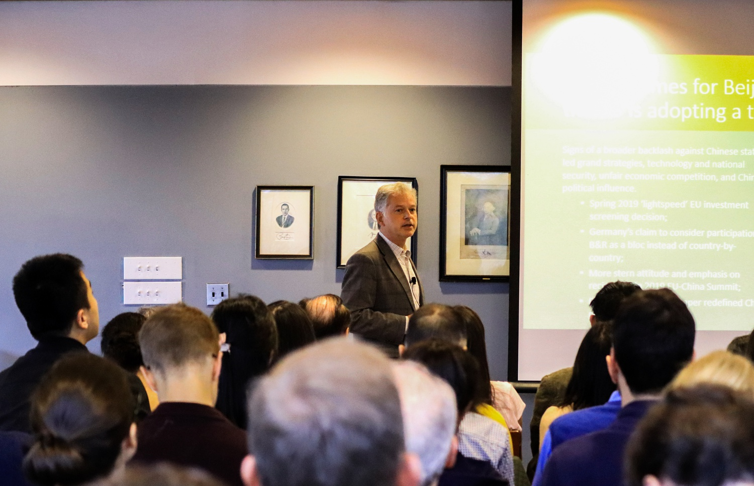 Philippe Le Corre, research associate at the Ash Center for Democratic Governance and Innovation and Mossavar-Rahmani Center for Business and Government speaks about the impact of China's Belt and Road Initiatives at the Harvard Kennedy School Tuesday.