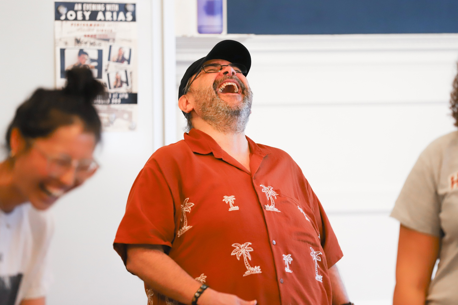 "Remo F. Airaldi '85, a Harvard lecturer on Theater, Dance, and Media, teaches his weekly improv class, TDM 120: ""What's so Funny?: Introduction to Improvisational Comedy."""