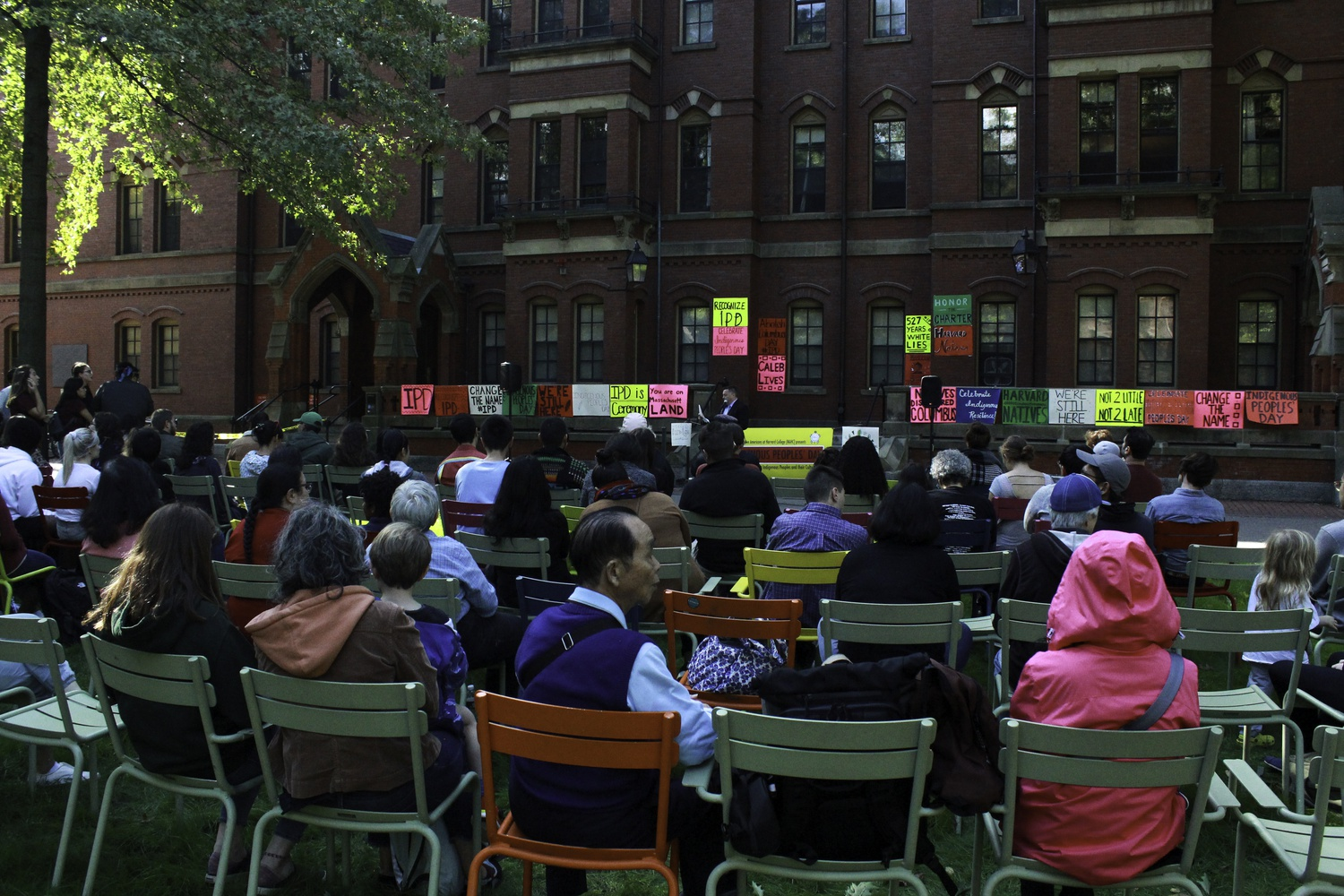 Harvard affiliates and members of the public gathered in front of Matthews Hall to celebrate Indigenous Peoples' Day in 2019.