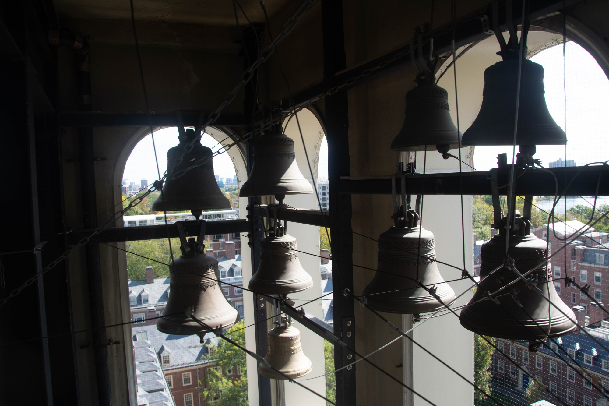 Bells in the Lowell house bell tower.