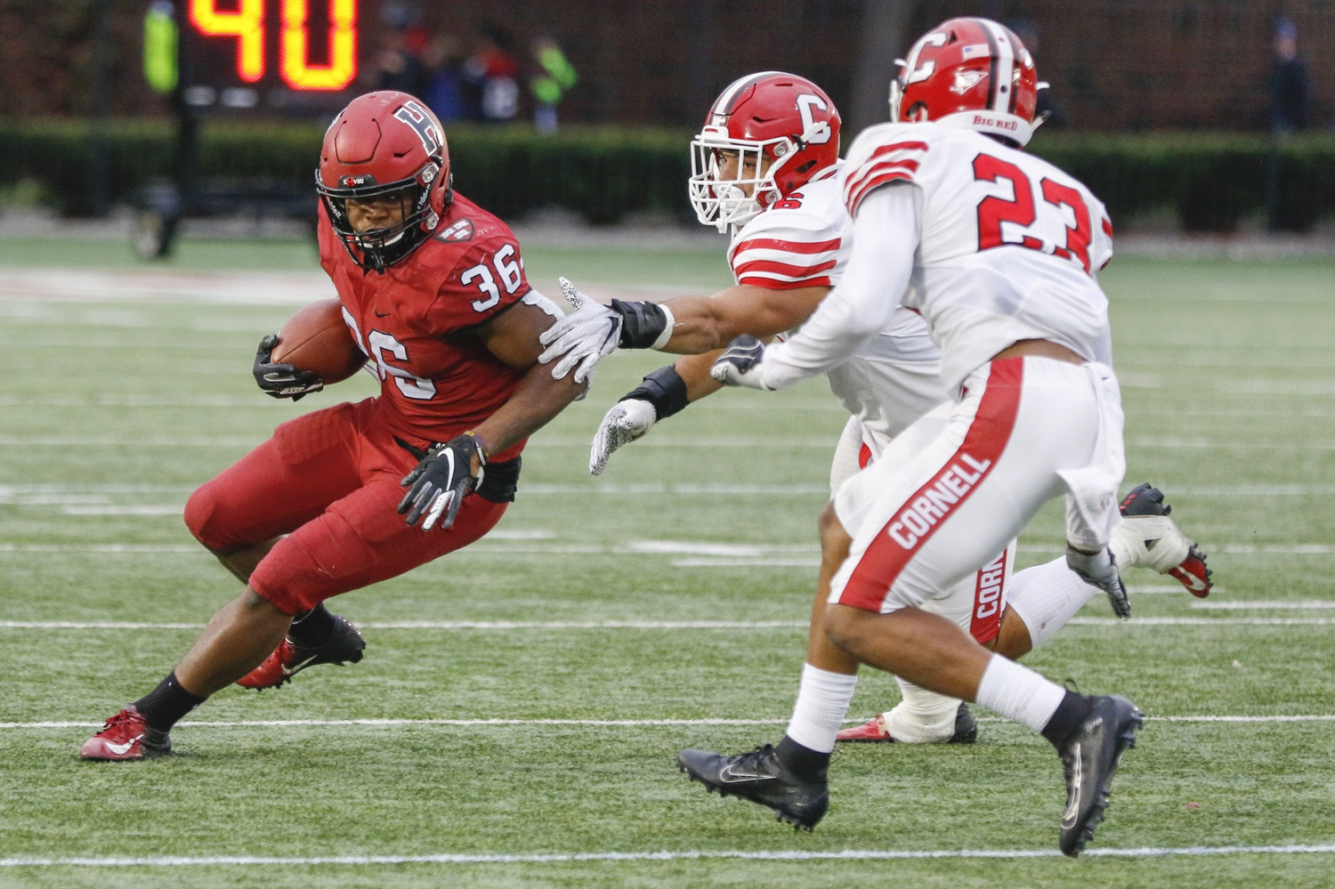 Junior running back Devin Darrington makes a cut against Cornell last week. The third-year leads the team in ground-game production with 371 yards.