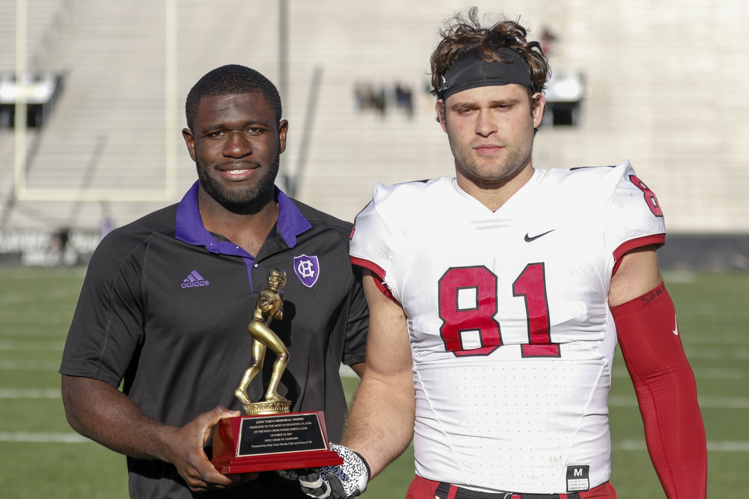 Harvard senior defensive end won the Johnny Turco Memorial Trophy for his performance Saturday. The senior made four tackles in addition to three sacks.
