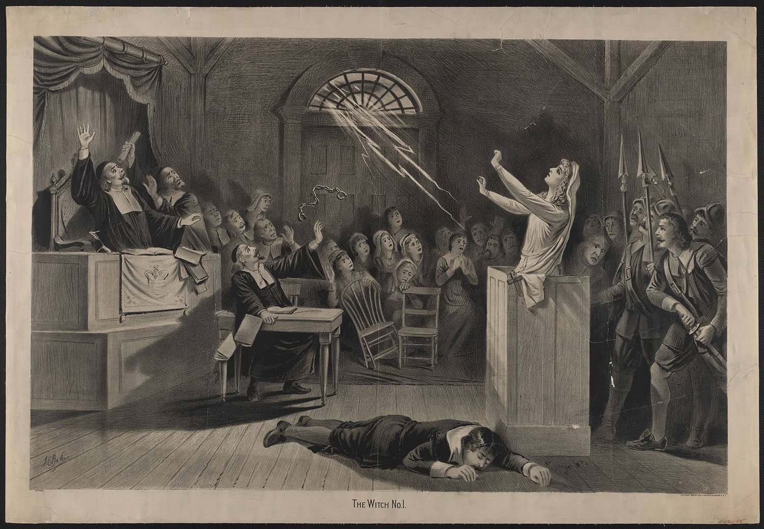 Artistic depiction of the Salem Witch Trials.