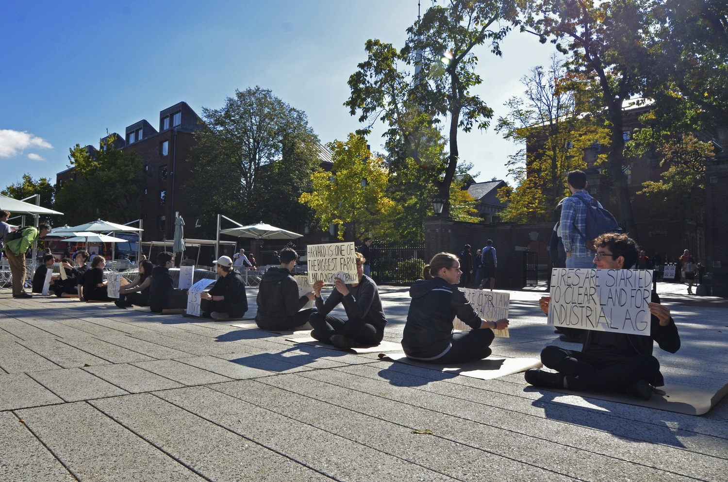 Divest Harvard students gathered in Science Center Plaza to protest the University's holdings of Brazilian land.