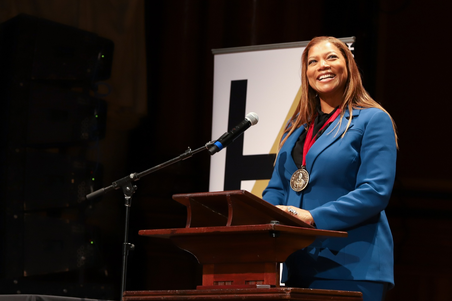 Dana Elaine Owens, better known by her stage name Queen Latifah, was awarded the W.E.B. Du Bois Medal Tuesday. The award recognizes individuals for their contributions to African and African American culture.