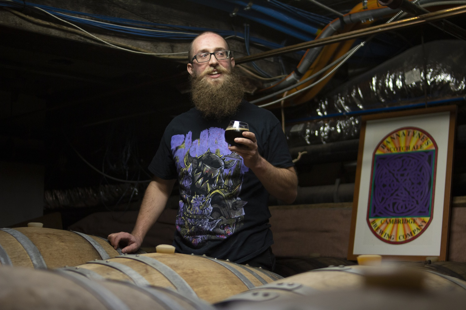 """The Cambridge Brewing Company presents """"For Those Who Hear The Whisper"""", a Norwegian strong dark ale brewed with sheep skulls from local butcher M.F. Dulock. Definitely not vegan/vegetarian friendly."""