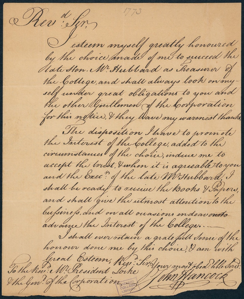 John Hancock wrote a letter in 1773 accepting appointment as Harvard University's treasurer, serving from 1773 to 1777 — concurrent with the American Revolutionary War.