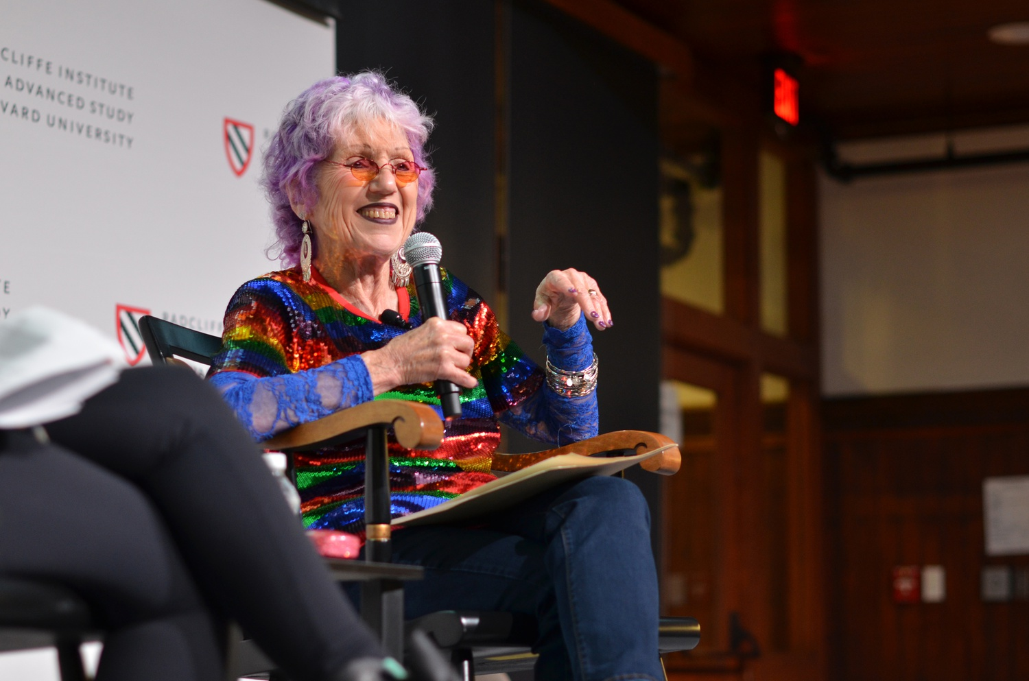 Judy Chicago, a feminist artist and figurehead of the 1970s American feminist art movement, visited the Radcliffe Institute to celebrate the launch of an online portal archiving her work — part of a collaborative archival project across three universities.