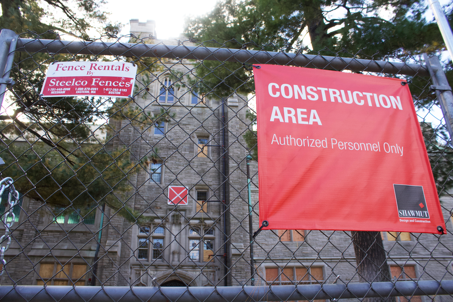 Swartz Hall, located at the Harvard Divinity School, is undergoing serious renovations with the goal to create a more sustainable building. The construction project will upgrade the building's electrical, plumbing, and climate control systems.