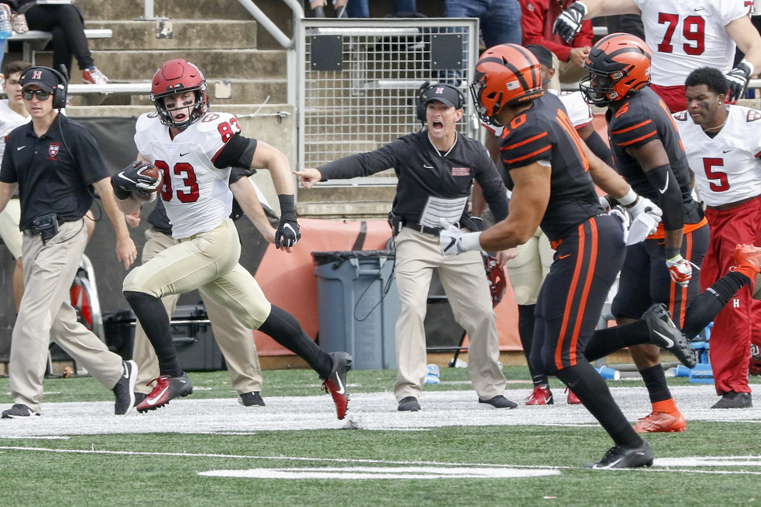 Senior wide receiver Jack Cook sprints for sprints past two defensive backs en route to a 73-yard score. The touchdown put Harvard in the lead for the first time against the Tigers since 2016.