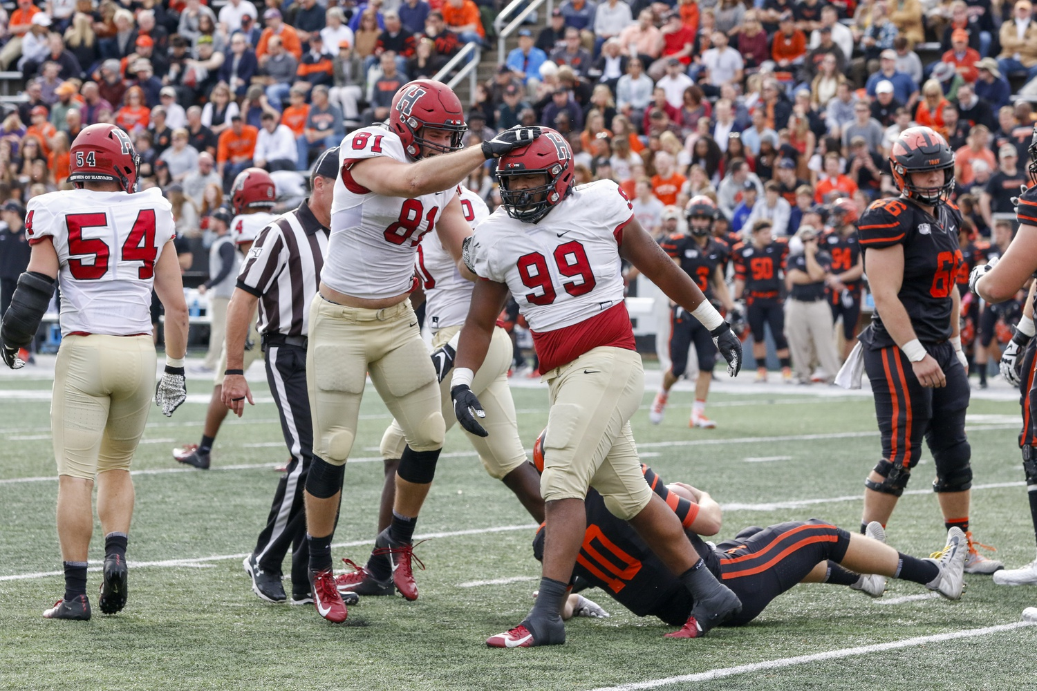 Harvard defensive lineman Jacob Sykes receives a congratulatory pat on the head from a teammate after a sack during Saturday's loss to Princeton