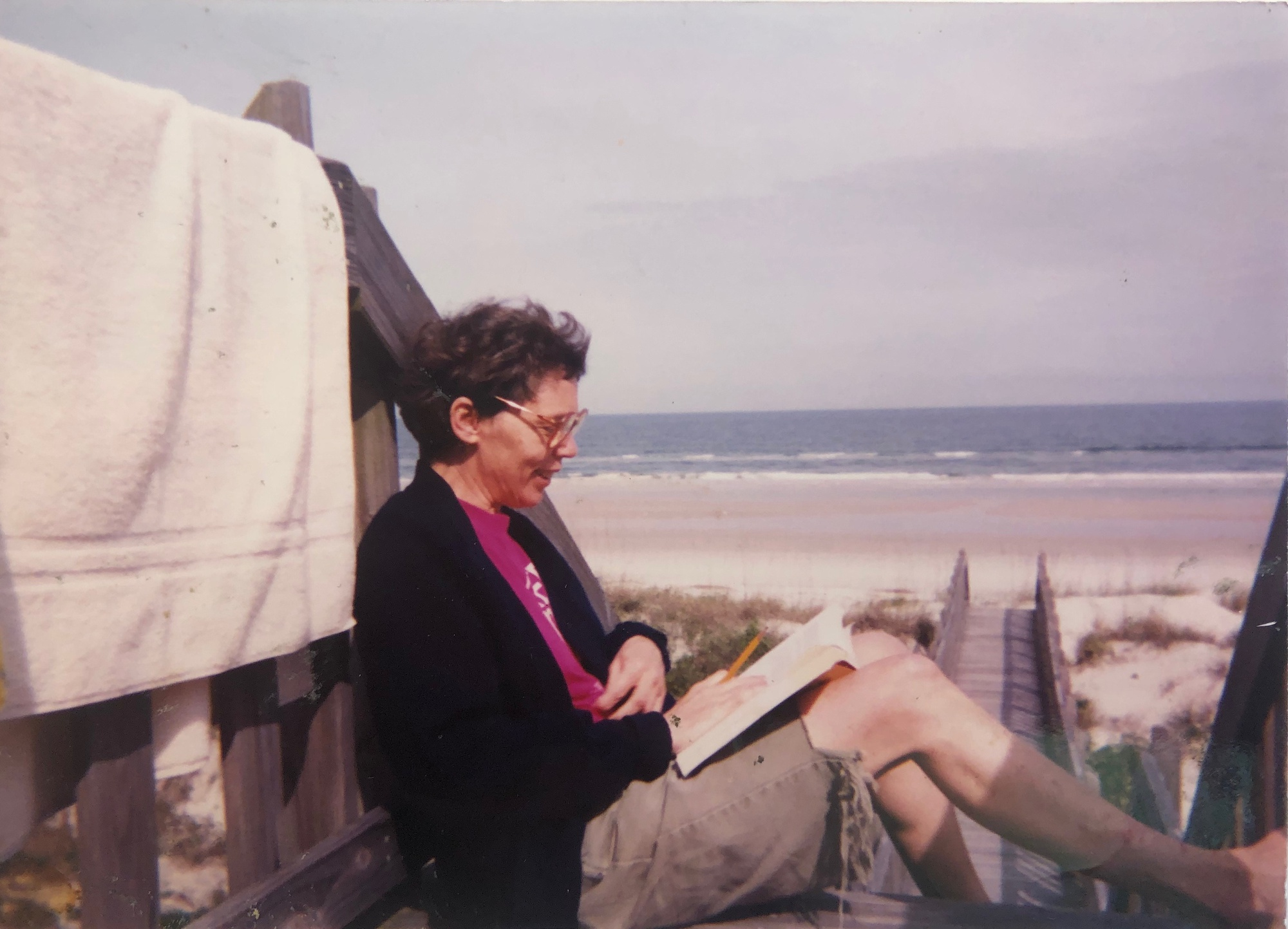 While working in Florida, Kathie Sarachild enjoys a weekend getaway in early March 1994.