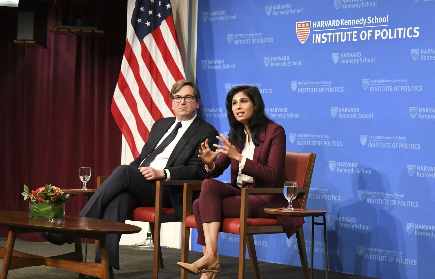 Gita Gopinath, Chief Economist for the International Monetary Fund, discusses future obstacles regarding trade in the global economy at the John F. Kennedy Forum at the Institute of Politics Tuesday night.
