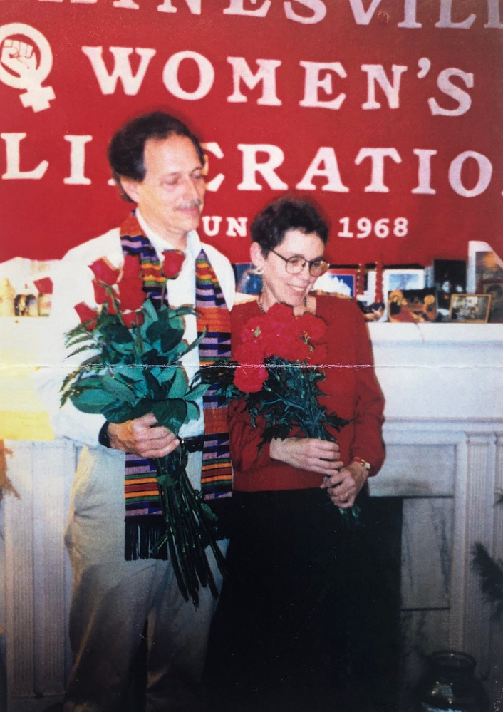 """""""Red couples agreement, signed and sealed!' reads the note accompanying this photograph of Dan Harmeling and Kathie Amathiek on January 17, 1995 in Gainsville, Florida."""