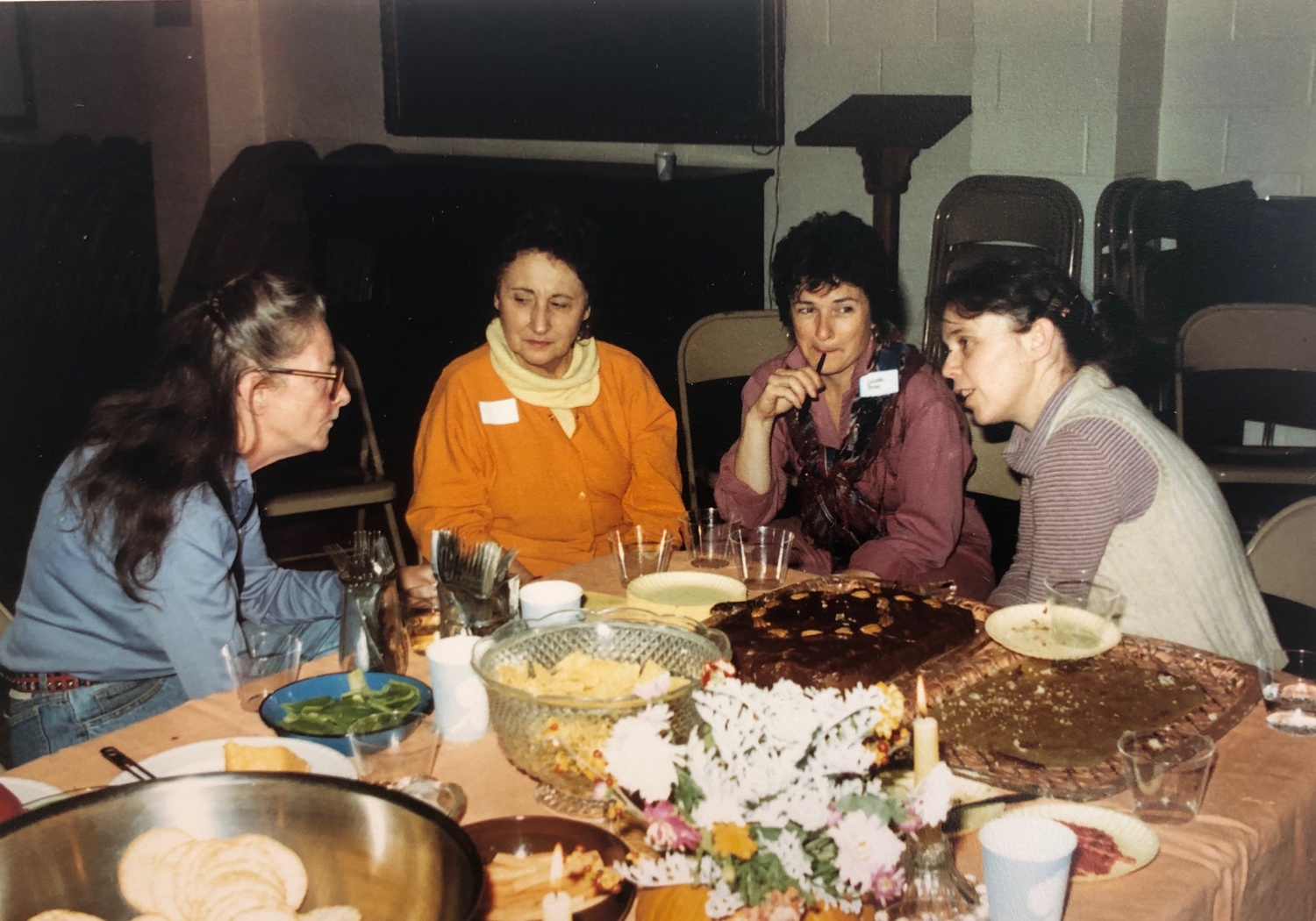 Activists Louise Thompson, Corrine Coleman, Colette Price, and Kathie Sarachild dining in October 1987 at the Park Ave. Christian Church in New York City.