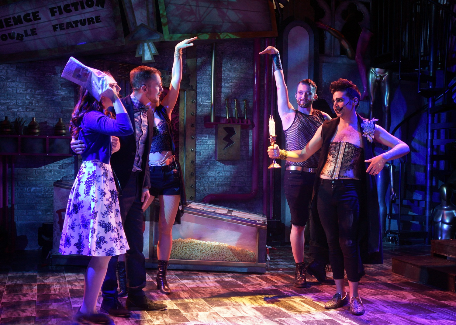 "Carly Grayson (Janet), Alexander Boyle (Brad), Shane Hennessey (Phantom), and Brad Foster Reinking (Riff-Raff) act in Harvard Square's live musical edition of ""The Rocky Horror Show"""