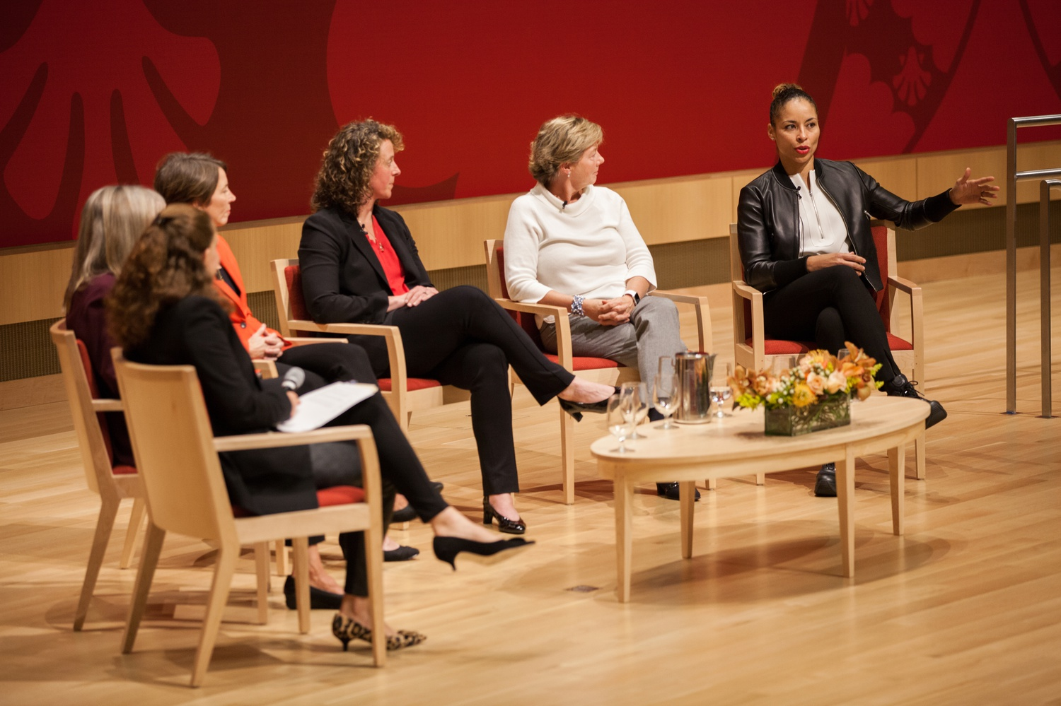 A group of five accomplished women, including women's basketball coach Kathy Delaney-Smith, discussed leadership in a panel at HBS.