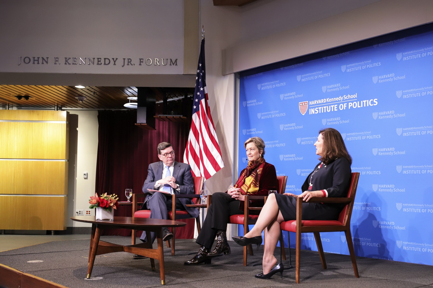 Mark D. Gearan (left), Jody Olsen (center), and Barbara Stewart (right) discuss the importance of young people having the opportunity to pursue public service at the Institute of Politics.