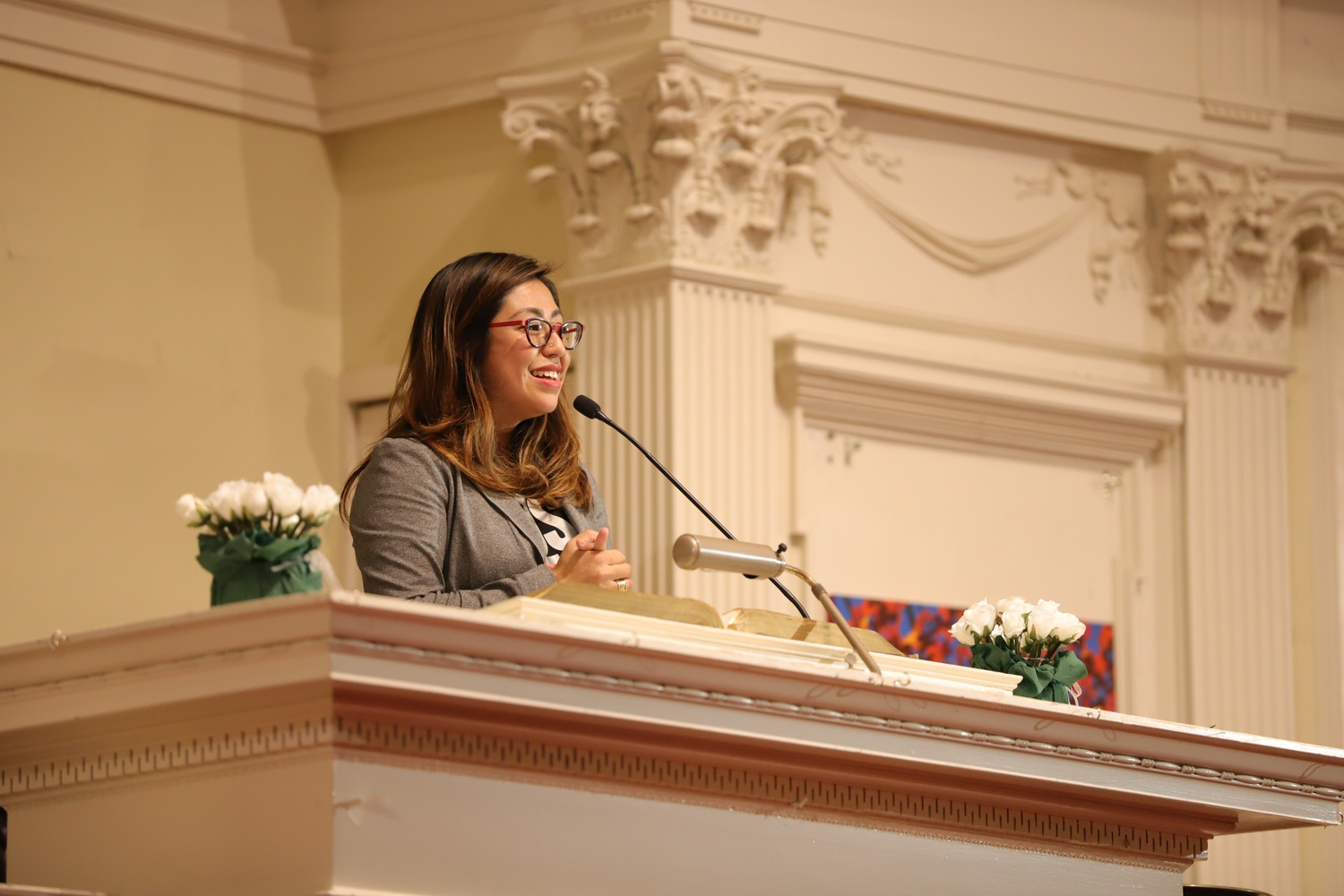 "Cristina Jiménez speaks during the Robert Coles ""Call of Service"" Lecture  Friday evening at the First Parish Unitarian Universalist Church."