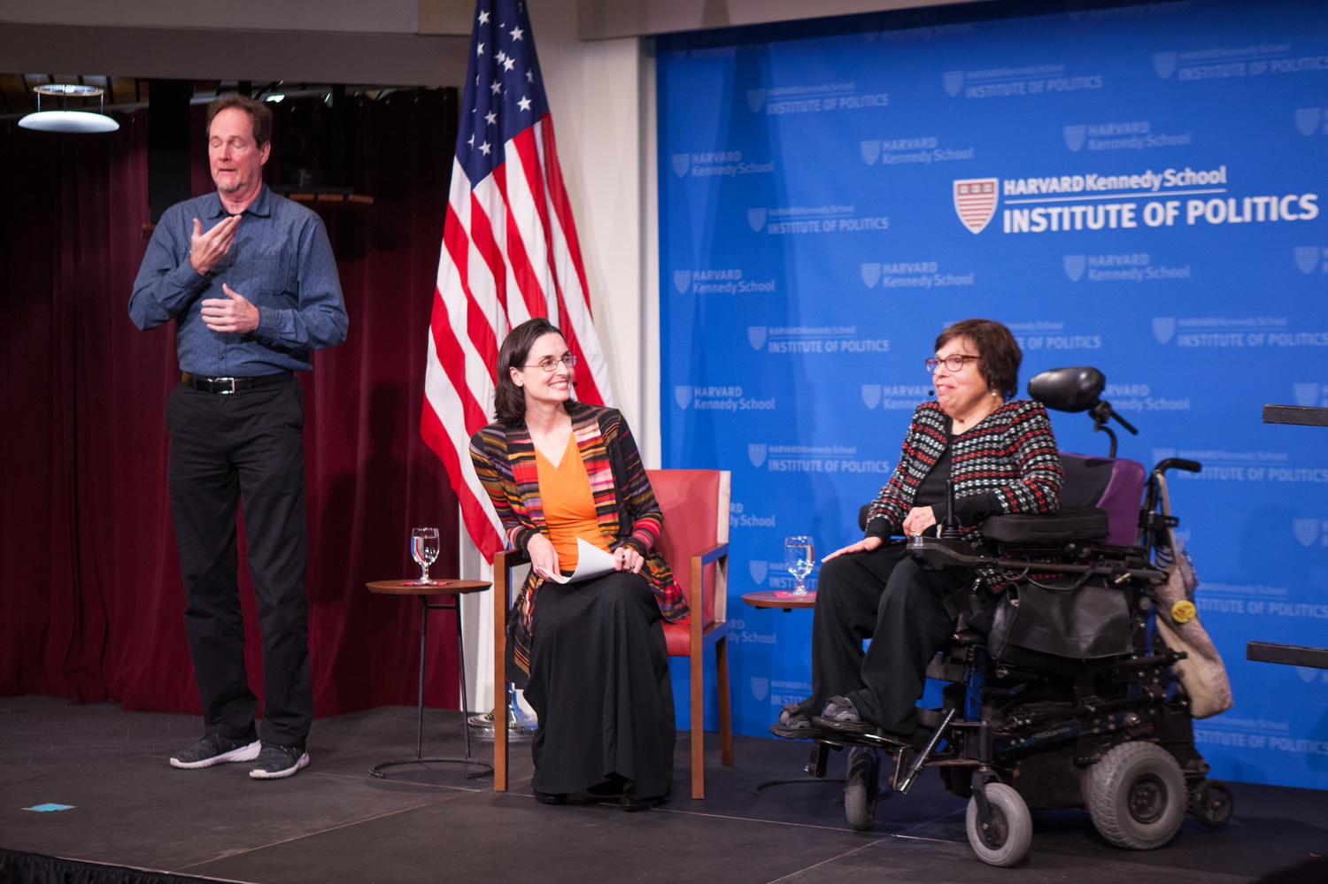 International disability rights activist Judith Heumann speaks with Professor Hannah Riley Bowles at the JFK Forum Tuesday night.