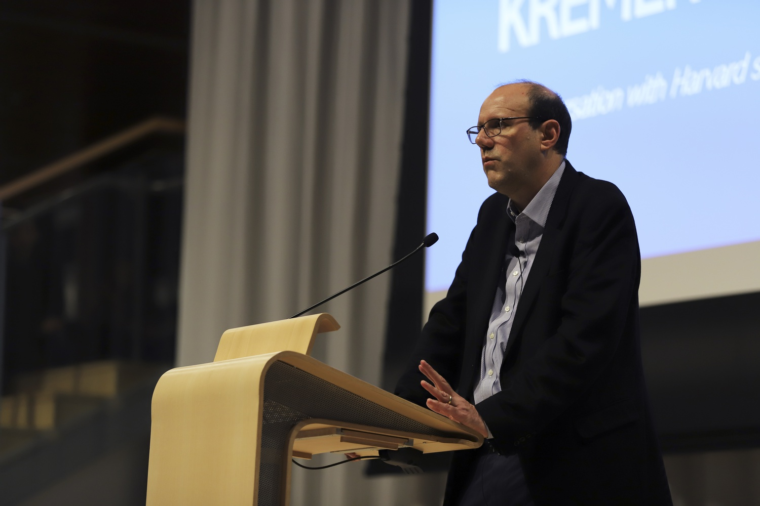 Economics Professor and 2019 Nobel Laureate in Economics Michael Kremer '85 converses with students during an event hosted by the Center for International Development in the Smith Campus Center Tuesday evening.
