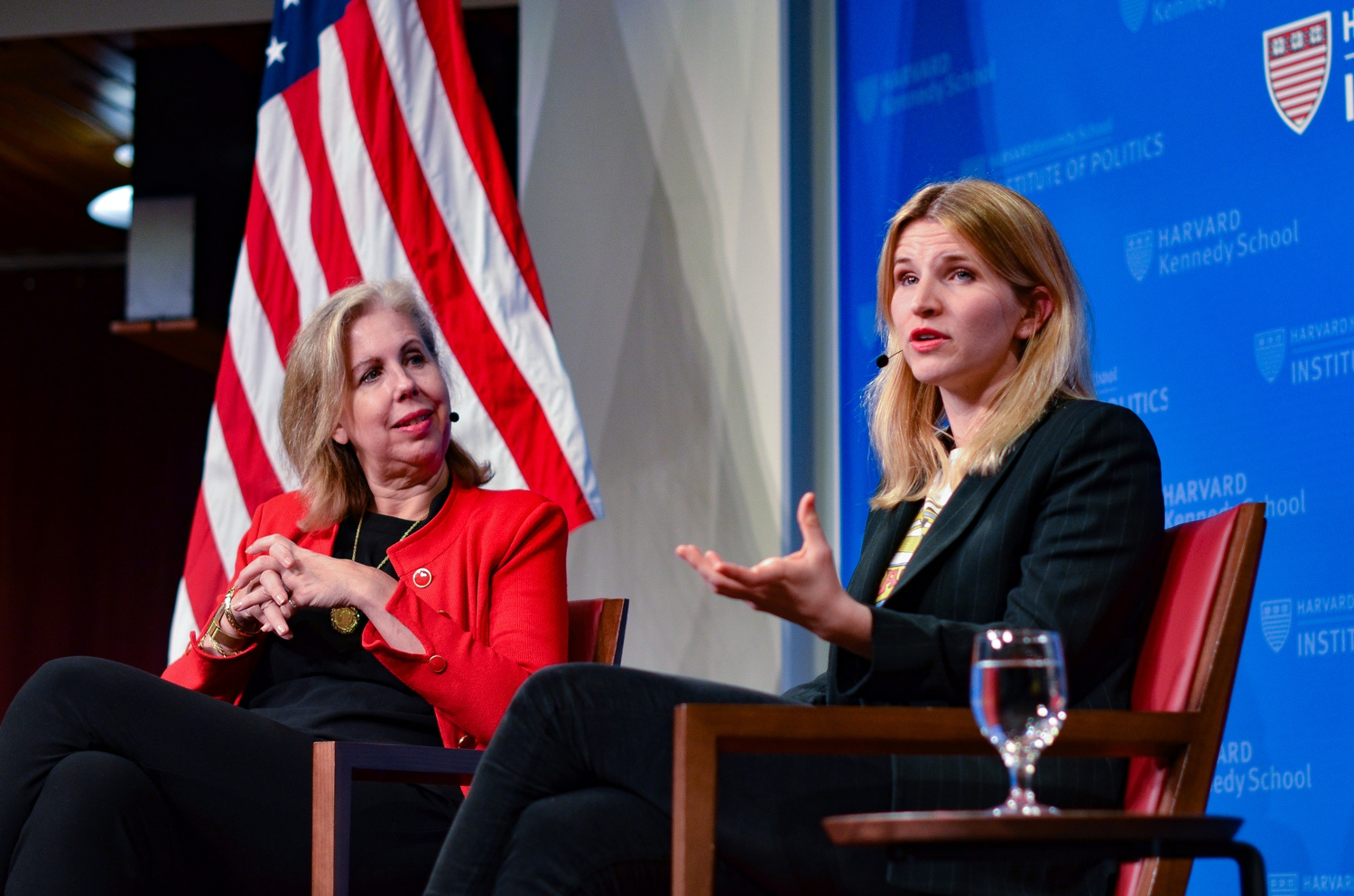 """Tara Westover, author of """"Educated,"""" speaks with Nancy Gibbs, director of the Shorenstein Center at the IOP JFK Jr. Forum on Tuesday night."""