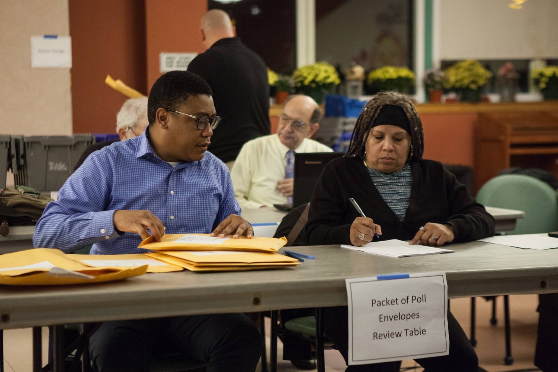 Vote counters at the Cambridge Citywide Senior Center.