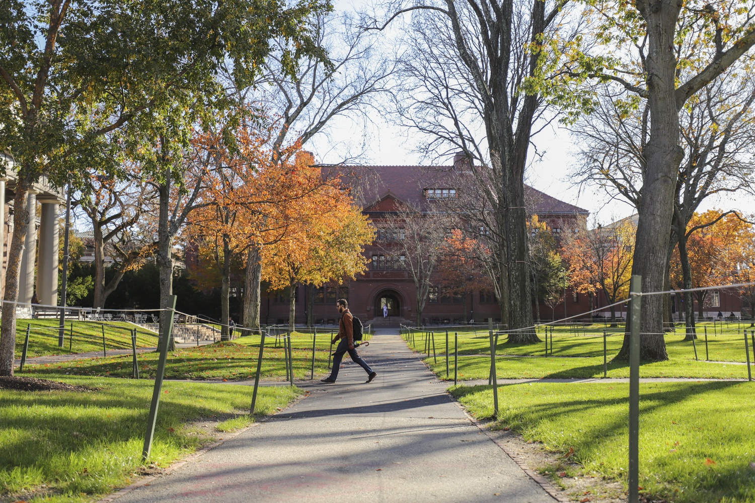 A pedestrian walks through Harvard Yard in front of Sever Hall on a November morning.