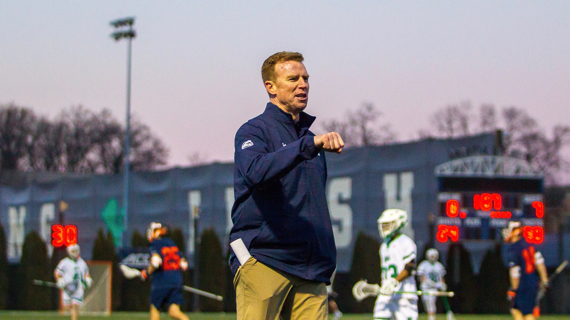 Coach Gerry Byrne was previously an assistant coach at Notre Dame before taking over the program at Harvard.