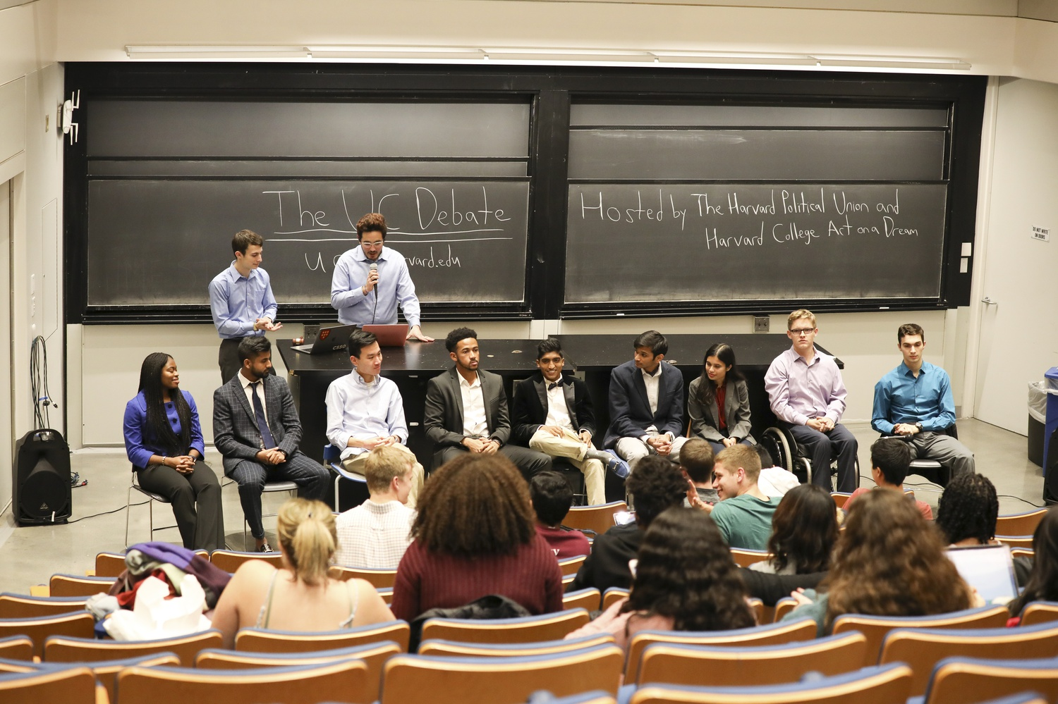 The Harvard Political Union and Harvard College Act on a Dream co-sponsored a debate Saturday afternoon for the candidates running in the Undergraduate Council presidential election.