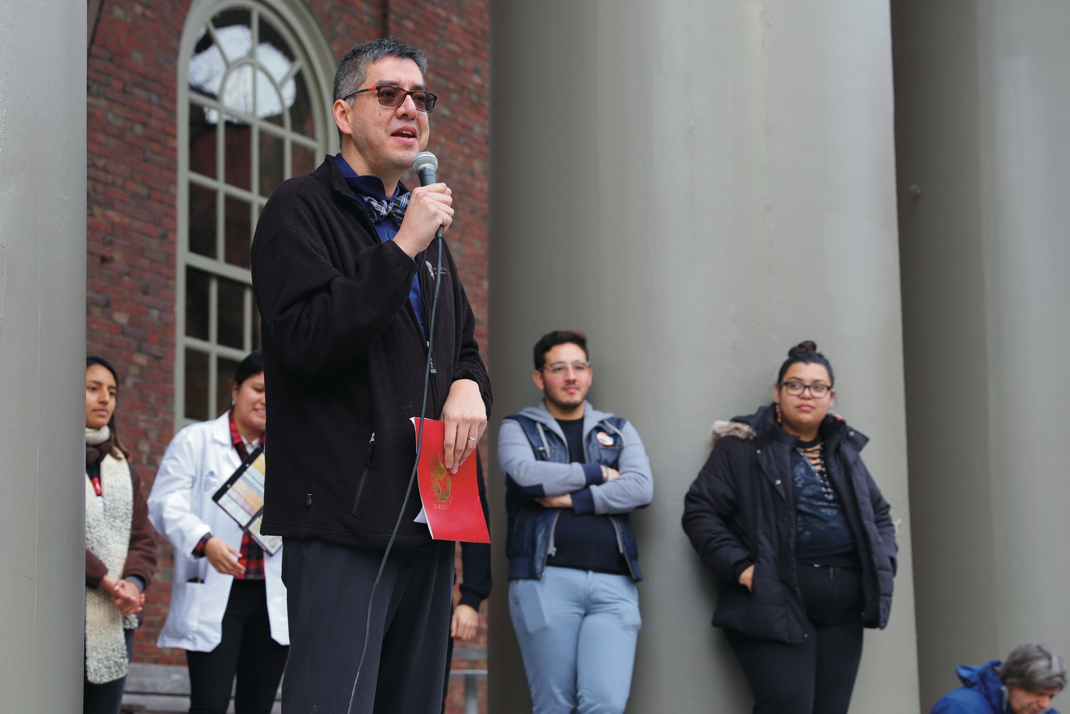 Harvard Medical School Dean for Students Fidencio Saldaña spoke about the ways Harvard Medical School supports undocumented students during a walkout in support of DACA recipients Monday afternoon at Memorial Church.