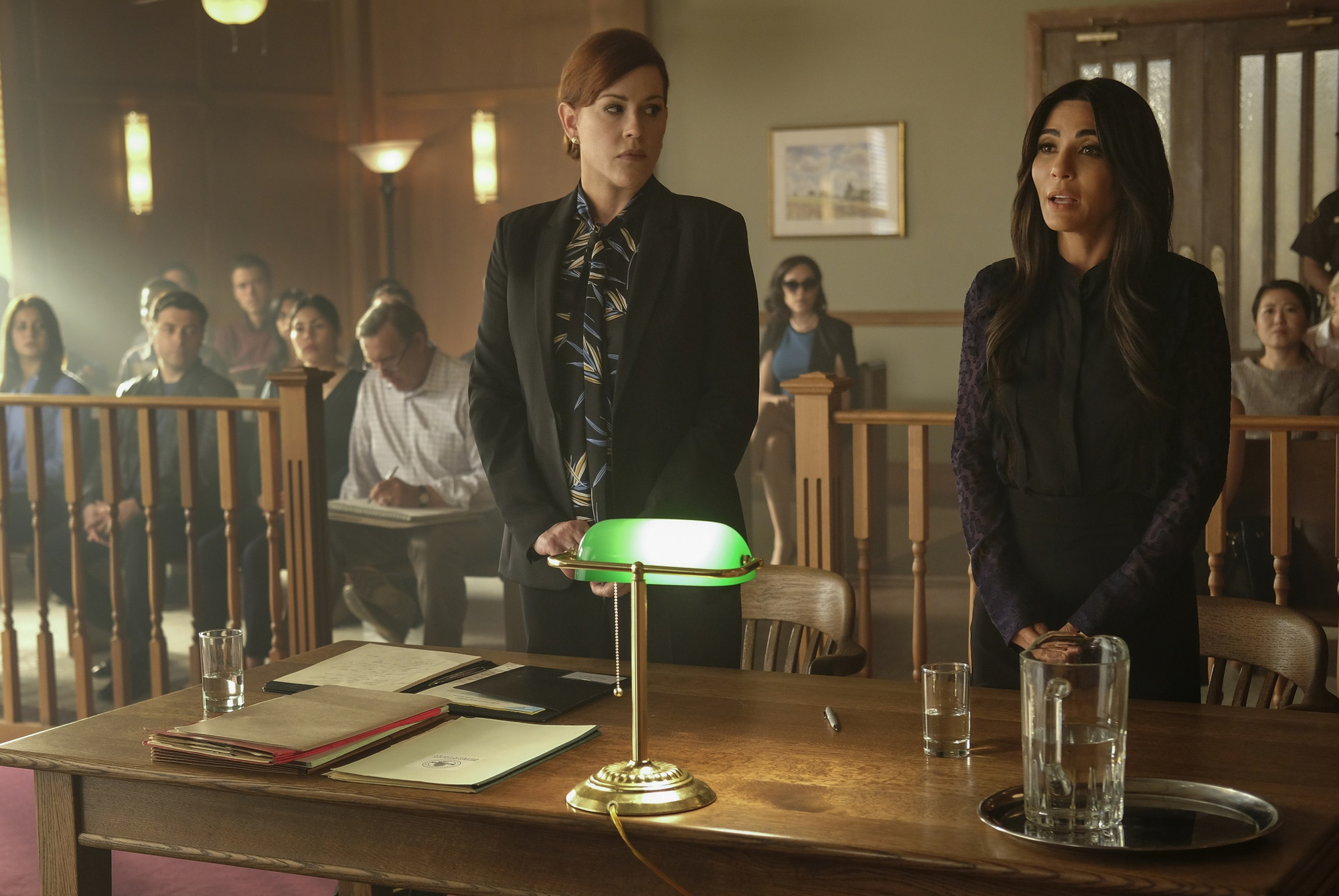 "Molly Ringwald as Mary Andrew and Marisol Nichols as Hermione Lodge in Episode Five of the fourth season of ""Riverdale."""