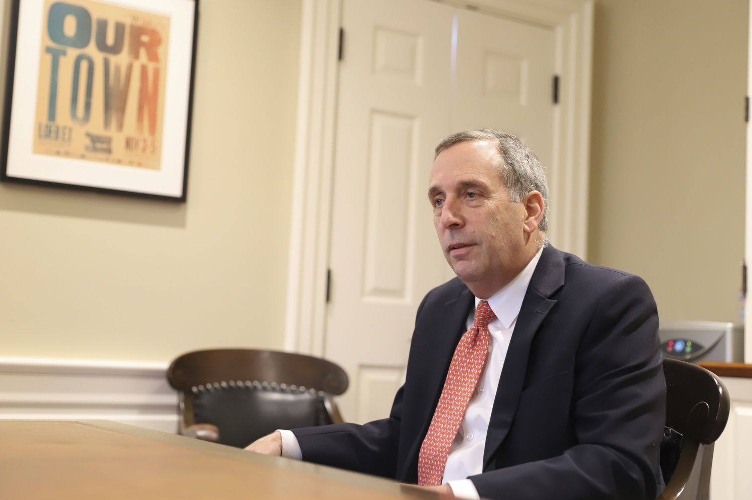 University President Lawrence S. Bacow in his office in early October.