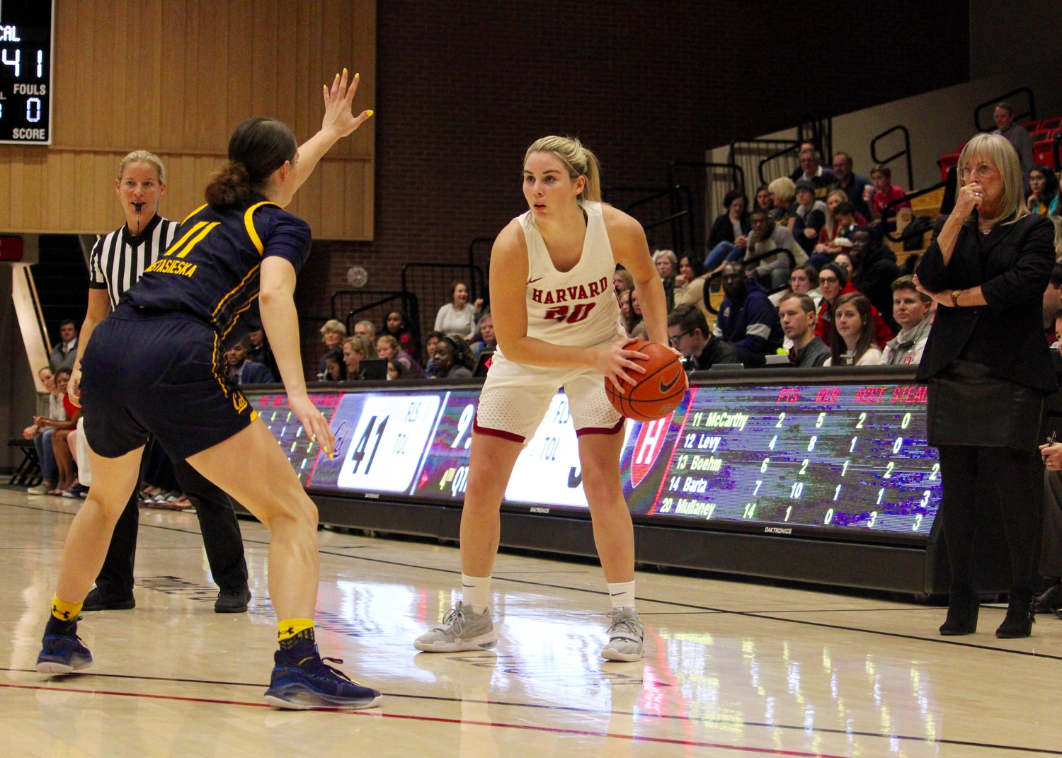 First-year Lola Mullaney returned back to action for the Crimson after suffering an ankle injury against Cal on Nov. 9.