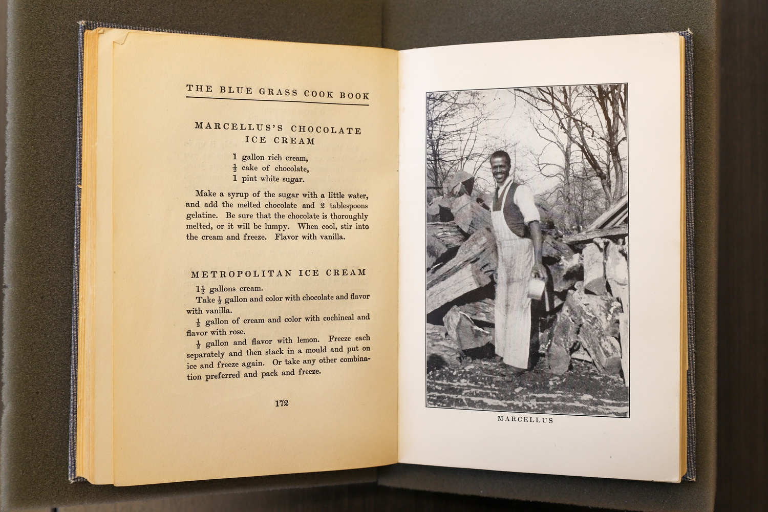 The Blue Grass Cookbook was the first book to directly acknowledge African American cooks for creating recipes that came to be known as Southern hospitality. Many of the cooks were not named even though the cookbook contains their portraits; however, Marcellus's ice cream recipes were properly attributed.