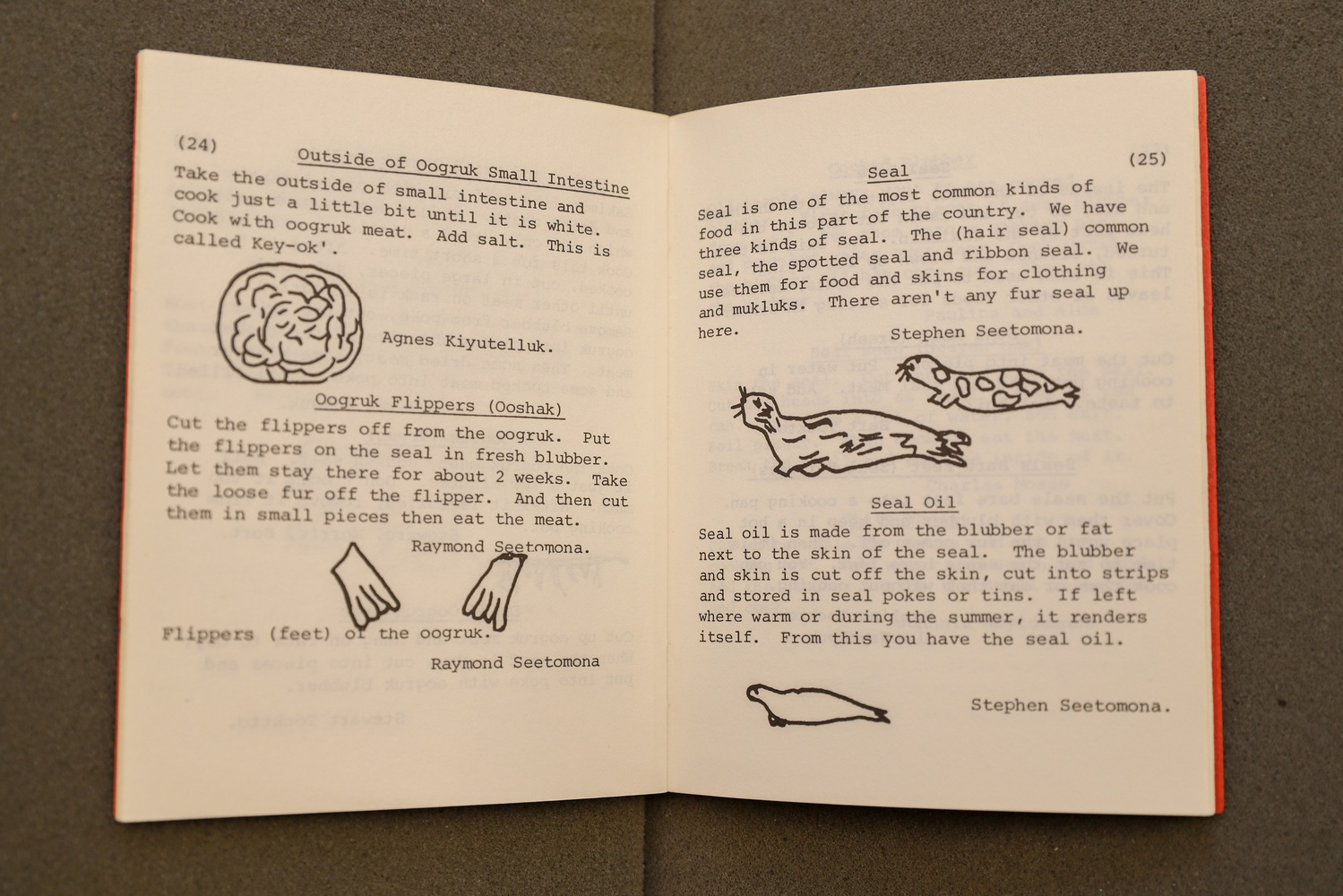 The Eskimo Cookbook was created by Inupiat of the Shishmaref Day School in Shismaref, Alaska. Students were tasked with bringing family recipes to school, where they produced this cookbook with hand-drawn images and attributions to specific students by name.