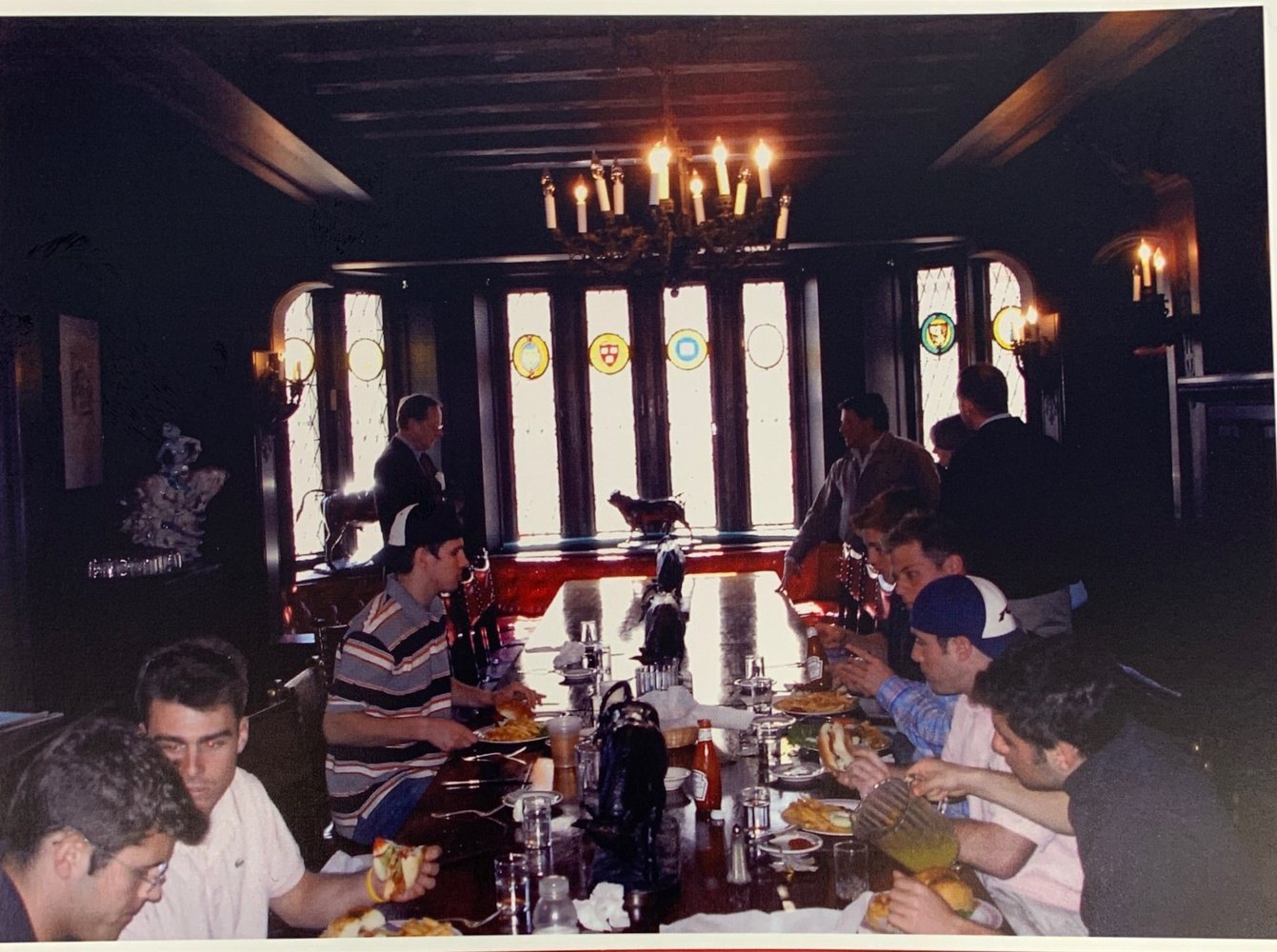 Members of the A.D. club enjoy a meal in the clubhouse.