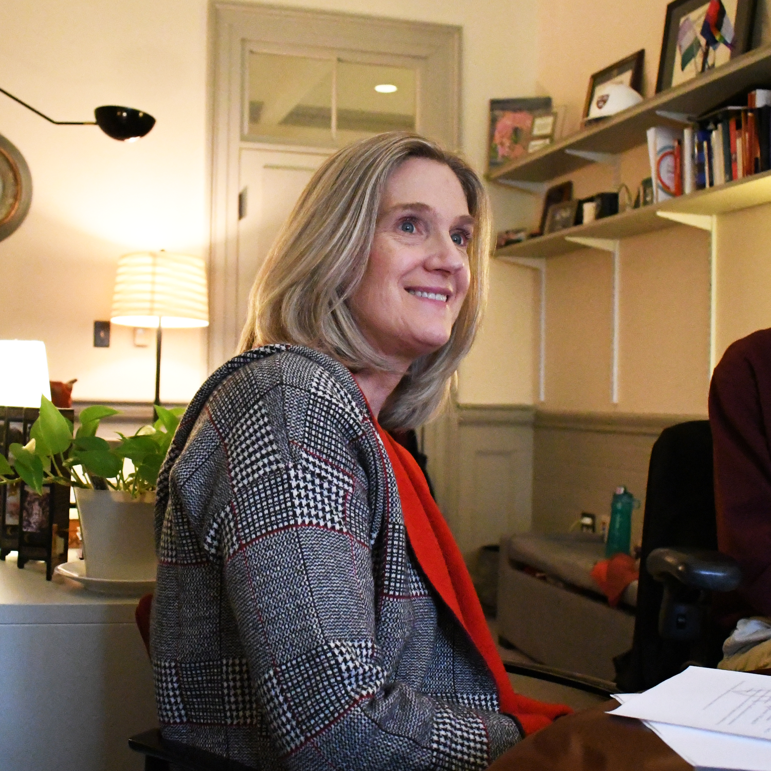Dean of Students Katherine G. O'Dair, pictured here in a November 2019 interview, said Friday that the most common criticism she heard from students about the fall semester was a lack of communication about future developments, especially regarding the opening of common spaces.