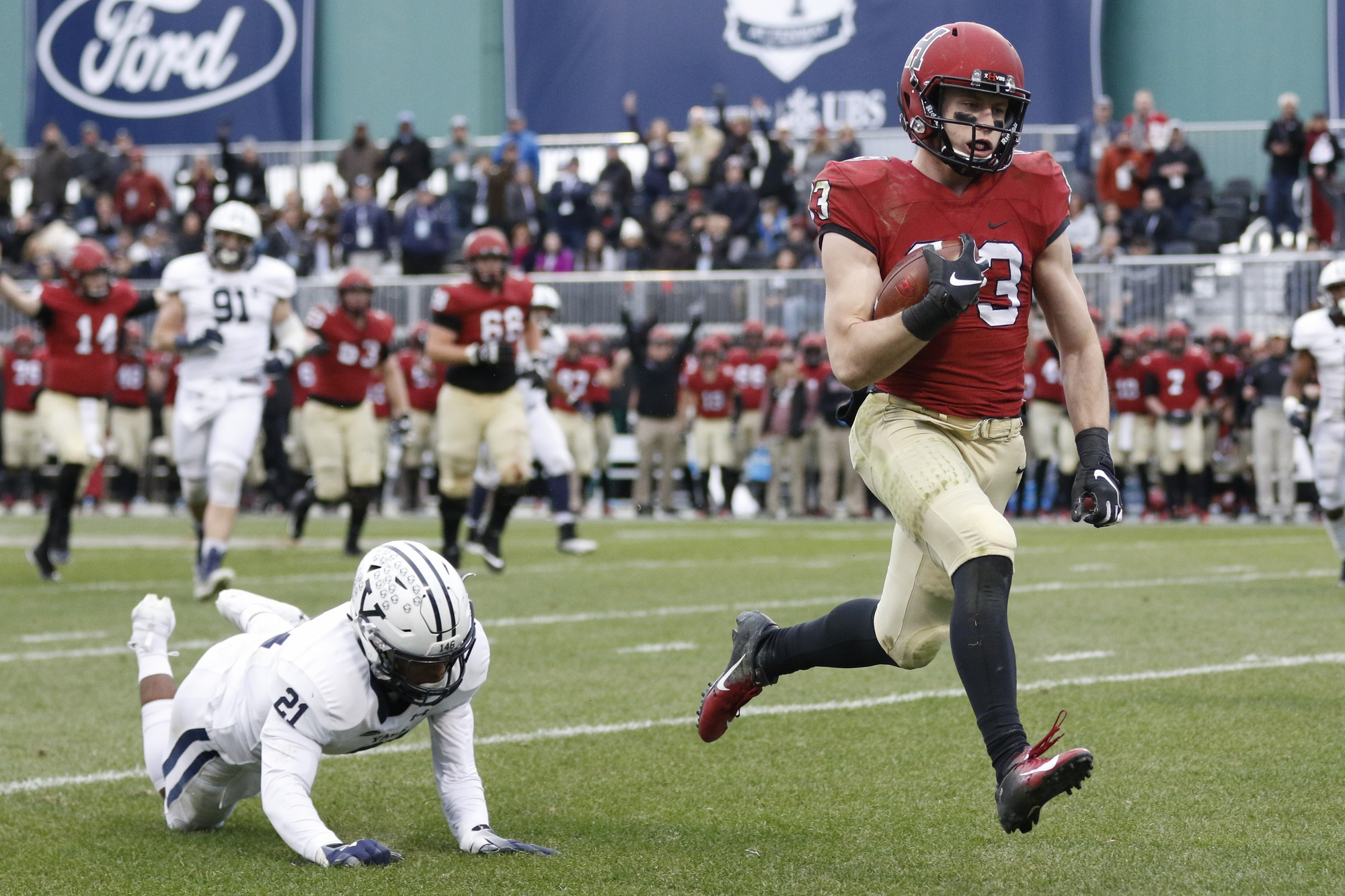 Senior wide receiver Jack Cook sprints past a Yale defender during last's season playing of The Game.