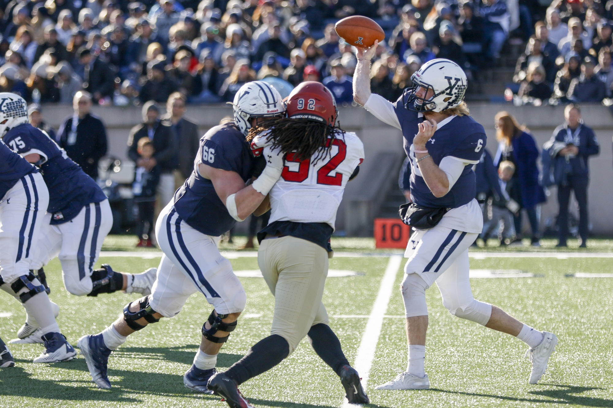 Yale quarterback Kurt Rawlings led the victorious team's offensive production Saturday afternoon. The veteran logged 417 yards and three touchdowns through the air, while also leading the team in rushing with 62 yards and a touchdown on sprints.